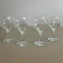 4 - Vintage Glassware Libbey Chivalry Wine Glasses Clear Textured Modern Goblet - $31.68