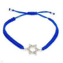 Bracelet With Genuine Crystals Made of Metallic Base metal and Blue Silk - $19.99