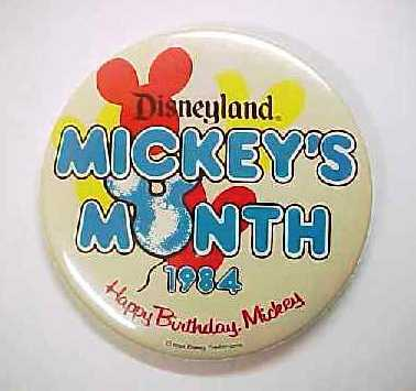 1984 Disney Disneyland Mickey's Month Pin Back Button