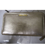 100% Auth MIU MIU Matte Gold Zip Around Wallet  - $146.49