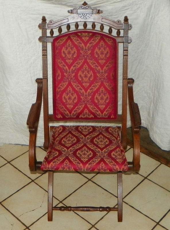 Primary image for Walnut Carved Eastlake Campaign Fold up Chair Sidechair