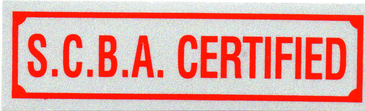 """S.C.B.A. CERTIFIED Highly Reflective Decal 1 1/4"""" x 4 1/4""""- SCBA CERTIFIED DECAL"""