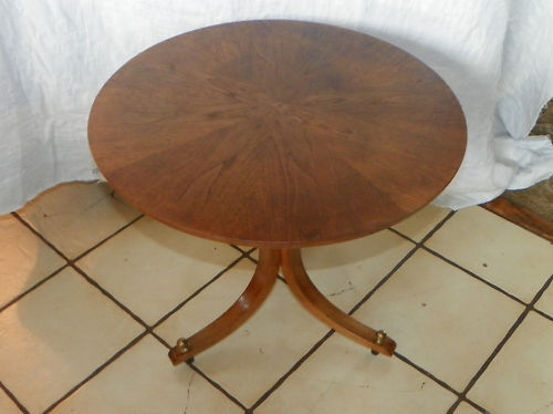 Primary image for Walnut Sunburst Veneer Round Side Table End Table