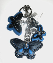 Coach Black and Blue Leather Butterfly Keychain Charm Fob 58997 NWT Silv... - $85.00