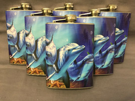 Set of 6 Dolphins D4 Flasks 8oz Stainless Steel Hip Drinking Whiskey - $36.58