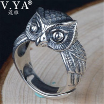 V.YA Cute Owl Ring for Men Women 925 Silver Ring Solid S925 Sterling Sil... - $18.57+