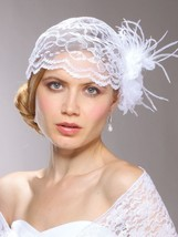 Vintage Juliet Bridal Cap White or Ivory Lace, Organza Flower Feather Clip - $129.95