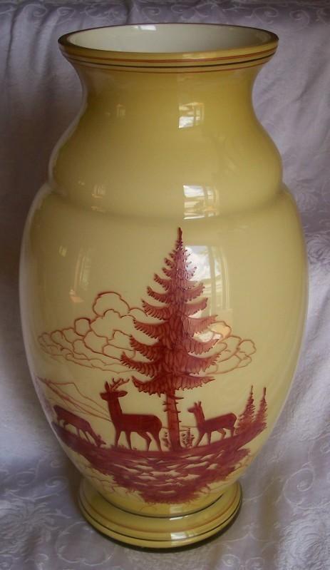 """Blown Glass Vase Cased Lamp Base Hand Painted Stag Deer 16"""" Dried Flowers OOAK"""