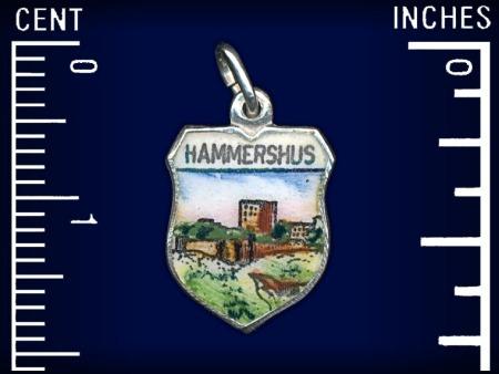 Vintage travel shield charm, Hammershus, Bornholm, Denmark