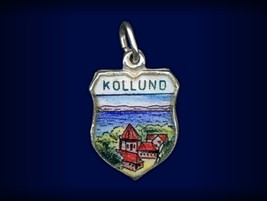 Vintage travel shield charm, Kollund, South Jutland, Denmark - $34.95