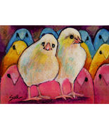 Original ACEO Drawing Easter Plethora of Peeps Chicks - $5.99
