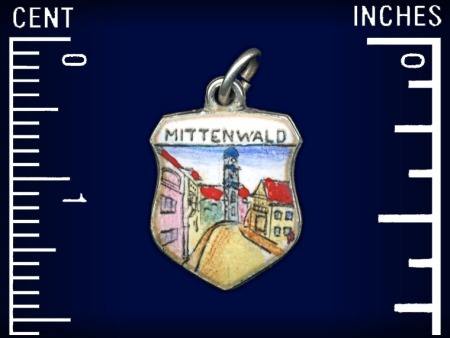 Vintage travel shield charm, Mittenwald, Germany