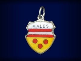 Very Rare! Vintage travel shield charm, MISSSPELLED Mals, South Tirol, I... - $59.95
