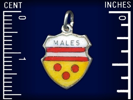Very Rare! Vintage travel shield charm, MISSSPELLED Mals, South Tirol, Italy