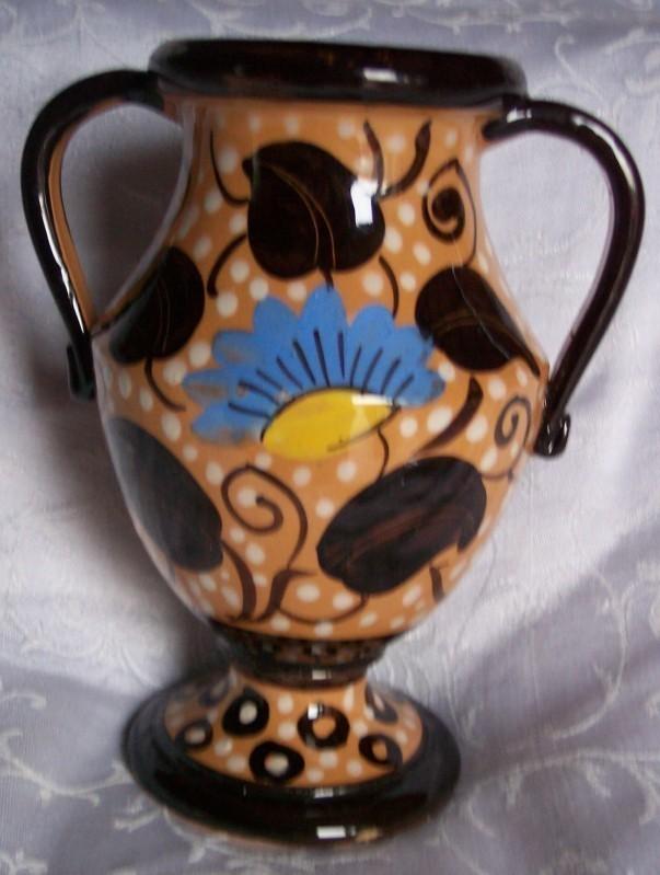 Art Pottery Handled Vase - Hand Painted Brown White Blue Flowers Vine Polka Dots