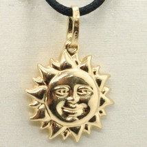 18K YELLOW GOLD ROUNDED SUN CHARM PENDANT, TWO FACES, SMOOTH SATIN MADE IN ITALY image 2