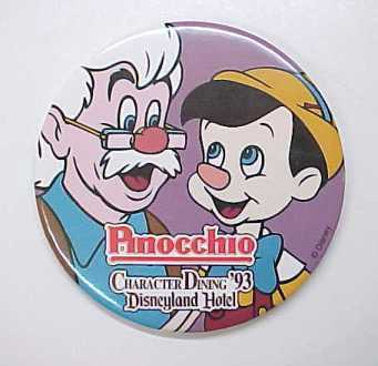 1993 Disney Disneyland Hotel Pinocchio Character Dining Pin Back Pinback Button