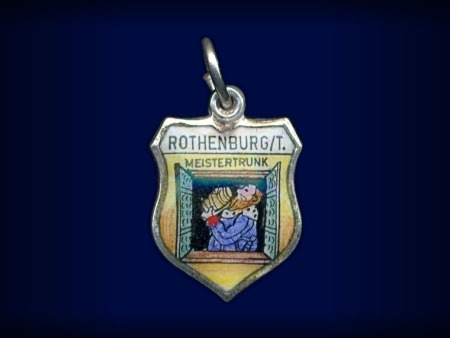 Primary image for Vintage travel shield charm, Rothenburg ob der Tauber, Germany