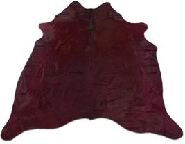 Burgundy Cowhide Rug Size: 6.4' X 6.4' ft Dyed Burgundy Cowhide Skin Rug... - $286.11