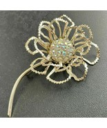 VINTAGE FLOWER BROOCH pin IRIDESCENT RHINESTONE Signed SARAH COV GOLD TO... - $34.64