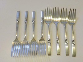 8 Oneida Community MORNING STAR 1948 Silverplate CAKE Salad Fork Art Deco - $39.59