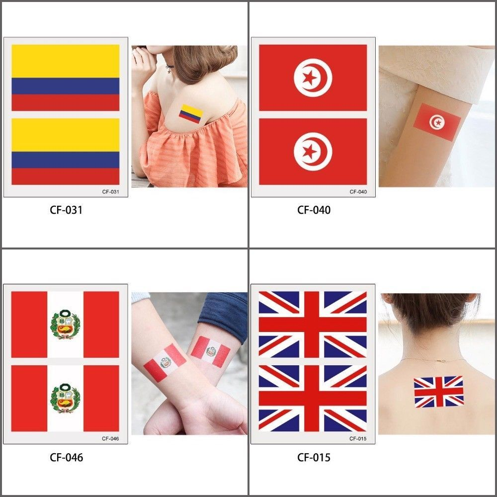 Flag Temporary Tattoo Sticker Football World And 50 Similar Items Tatto Hb577 Cup 2018 Soccer Fan National Body