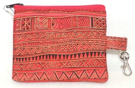 RED & GOLD GEO STRIPES Clip-On Zippered Change Credit Debit Card Purse COCP - $4.00