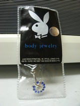 PLAYBOY BODY JEWELRY - NAVAL BELLY BUTTON RING, BLUE - NEW image 2