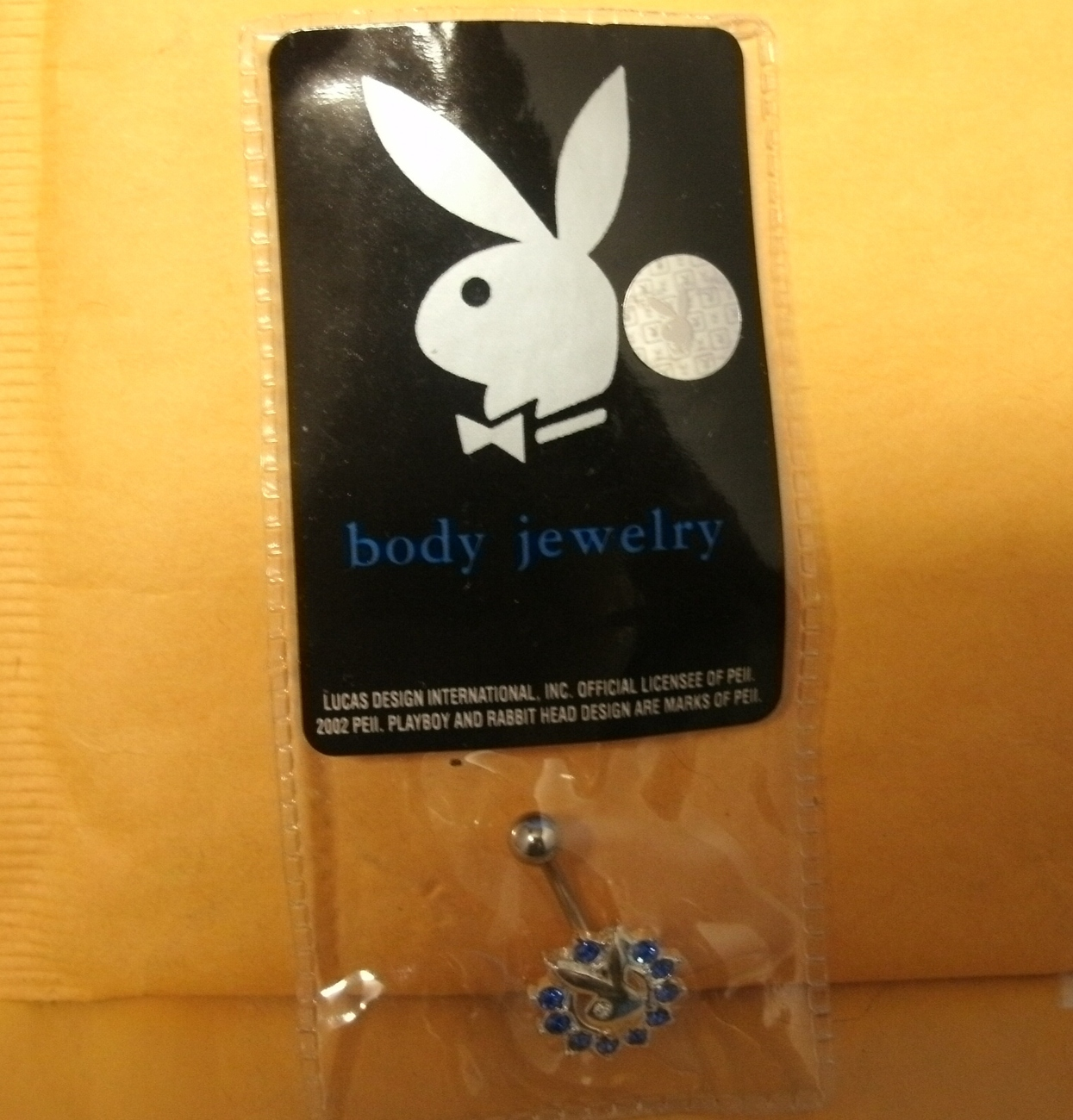 PLAYBOY BODY JEWELRY - NAVAL BELLY BUTTON RING, BLUE - NEW image 5