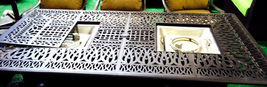 Outdoor propane fire pit table garden fireplace Elisabeth double burner dining image 3