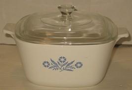 Vtg 1.75 Quart Corning Ware Blue Cornflower Casserole Dish w/Glass Lid P... - $28.71