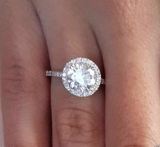 3.00 ct Round Cut Diamond Hallo Engagement Wedding Ring 14K White Gold  - $5.119,46 MXN