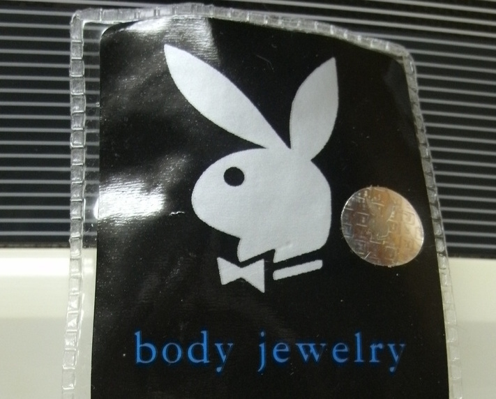 PLAYBOY BODY JEWELRY - NAVAL BELLY BUTTON RING, BLUE - NEW
