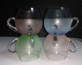 4 Vintage Roly Poly Cups w/Applied Handle Frosted Pastel Bases, Clear Tops - $7.91