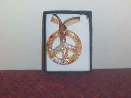 Caramel Murano Glass Peace Sign Pendant with Organza Ribbon Necklace - $9.99