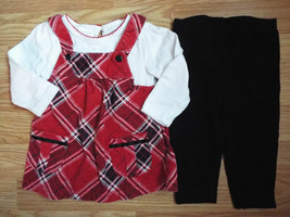Girl's Size 12 M 9-12 Month Two Piece Miniwear Red Plaid L/S Dress & Bla... - $18.50