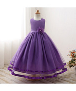 Cute Purple Party Wear Tulle Gown for Girls - $52.99+