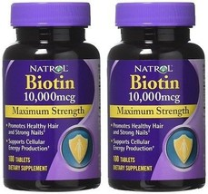 Natrol Biotin 10,000mcg Vitamin Supplement Hair Skin & Nail 100 Tablets ... - $23.54