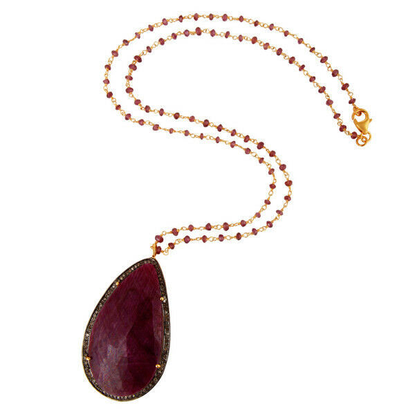 Pave Diamond Ruby 18k Gold Plated 925 Sterling Silver Pendant Necklace Jewelry