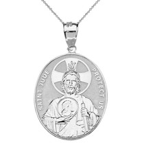 Sterling Silver Saint Jude Protect Us Large Oval Pendant Necklace - $24.99+