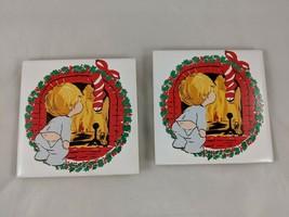"Jasco Christmas Tile Lot Coaster 4.5"" x 4.5"" 1981 - $4.65"