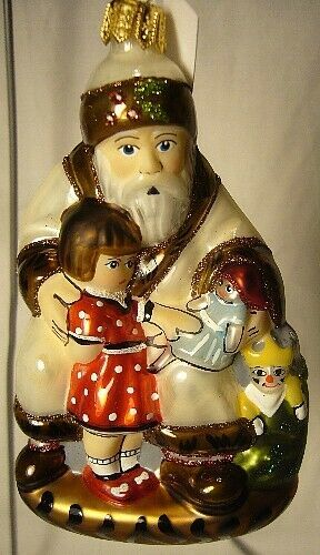 Vaillancourt Folk Art Santa - Girl & Glimmer  Ornament