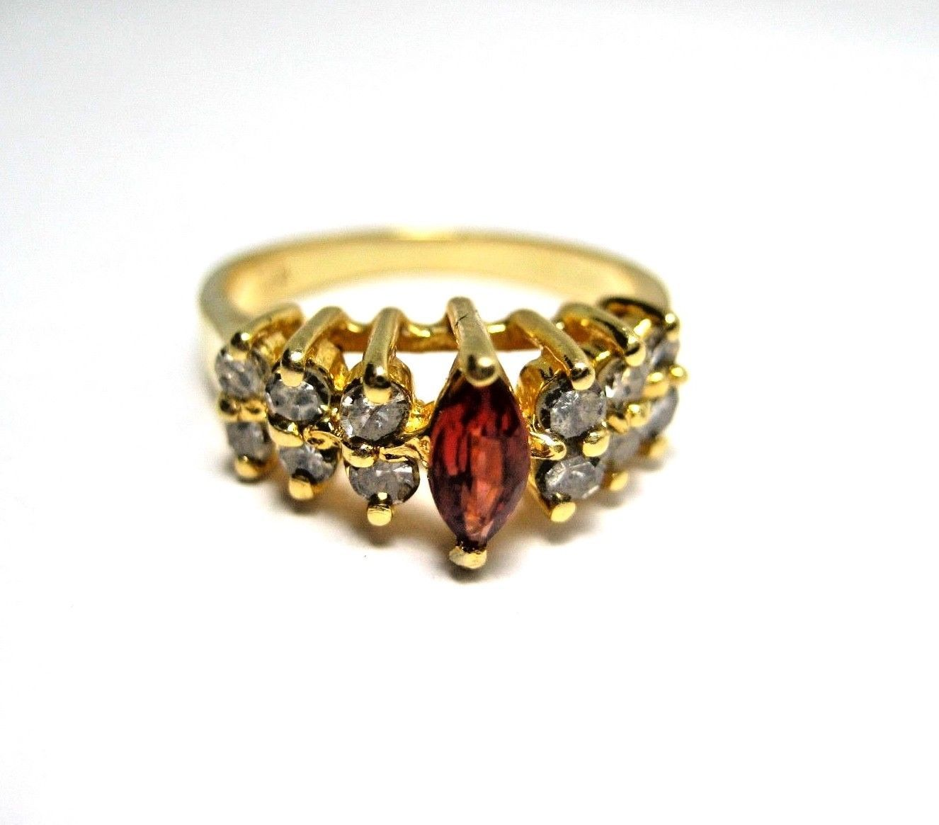 Primary image for Ladies Vintage Ring in 14K Yellow Gold with Marquis Garnet and Diamonds Size 6.5
