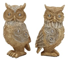 "4.75""H Golden Great Horned Owls With Glitter Crystals Lace Design Figuri... - $24.99"