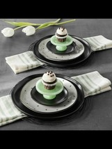New Hearth & Hand Magnolia Green Milkglass Cupcake Stands Set of 2 Joann... - $19.39