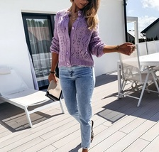 New lilac hollow out button down women knitted cardigan knit oversized s... - $38.00