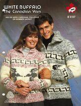 Adults White Buffalo Knit Cardigan Pullover Bomber Jacket Pattern 32-44 - $13.99