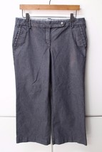 W11826 Womens ANN TAYLOR LOFT Marisa dark gray stripe stretch petite PAN... - $28.93