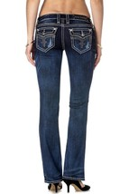 New Rock Revival Women's Premium Boot Cut Dark Denim Rhinestone Jeans Ena B19