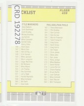 1989 Fleer #659 Checklist #491-584 CL 192278 - $0.98